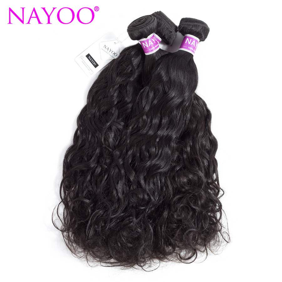 NAYOO Hair Mongolian Water Wave Human Hair 3 Bundles Natural Color Remy Human Hair Weaves Extensions 100g/pc