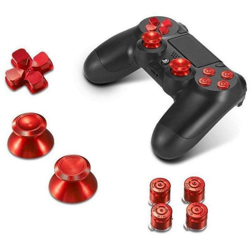 Full Set For PS4 Controller Dualshock 4 Replacement Metal Dpad+Joystick Cap+Bullet Buttons Aluminum Key Buttons Mod Kit
