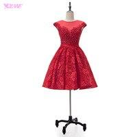 YQLNNE Elegant Red Lace Homecoming Dresses Short Party Dress Knee Length Vestido De Festa
