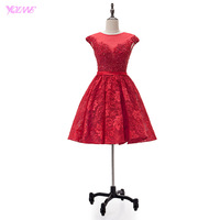 YQLAN Red Lace Homecoming Dresses Short Party Dress Knee Length Real Photos