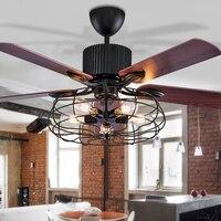 Alta qualidade loft fã lustre retro sala de jantar ventilador elétrico do agregado familiar mudo led remoto lâmpada fã folha