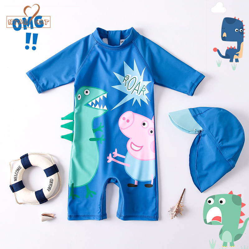 Nyan Cat 2018 Children Swimwear Dinosaur Baby Swimsuit Boys Sun Protected One Piece Bath ...