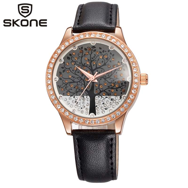 Fashion Women Rose Gold Christmas Tree  Wrist Watches Luxury Casual Female Quartz Watch Relogio Feminino Drop Christmas Gift