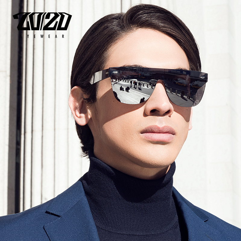 20/20 Brand New Sunglasses Men Travel Driving Mirror Flat Lens Rimless Women Sun Glasses Eyewear Oculos Gafas-in Men's Sunglasses from Apparel Accessories