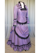 New Purple Taffeta Victorian Bustle Ball Gown Period Dresses