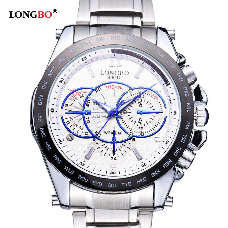 Longbo Brand Design Military Watches Men Luxury Brand Full Stainless Steel Big Dial Sports Watches Relogio Masculino Clock Male
