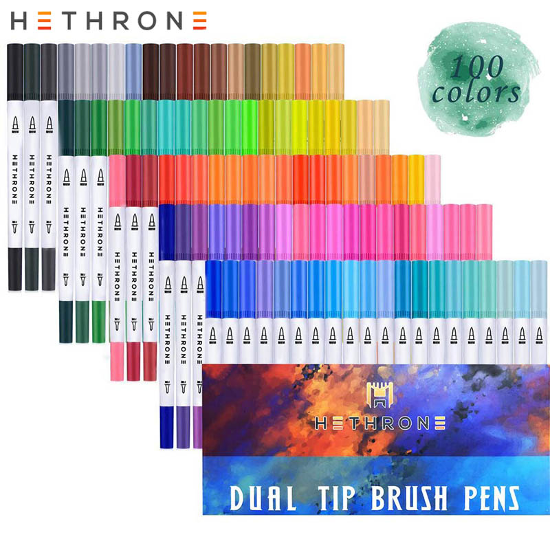 Hethrone 100PCS white FineLiner Drawing pen Watercolor Art Markers Pen Double Tips Brush Pen for Painting Graffiti DIY giftsHethrone 100PCS white FineLiner Drawing pen Watercolor Art Markers Pen Double Tips Brush Pen for Painting Graffiti DIY gifts