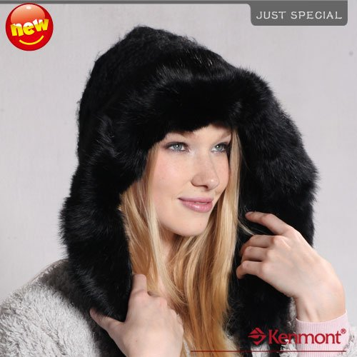 -50% Hot Promo Wool Earflap Hat, New Arrival Hand Knitted Rabbit Fur Beanie Hat KM-1247-01 Black