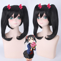 New Japanese Anime Game Lovelive Nico Yazawa Cosplay Wig Halloween Play Party Long Straight Black Double Ponytail Wig+Hairnet