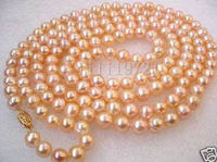 7 8mm pink freshwater pearl necklace 48>Selling jewerly free shipping