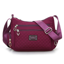 купить Ling plaid Shoulder Bag Oxford Joker Messenger Bag High Quality Pure color Pureple Crossbody Bag More zippers Vintage Bag Hobos по цене 976.97 рублей