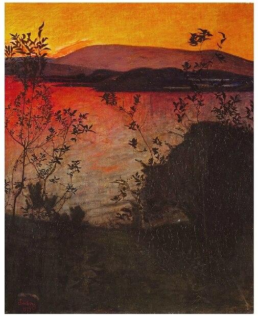 Coucher de soleil nuage Vintage classique peintures sur toile pour la décoration de la maison, ton chaud sans cadre tenture murale photo pour Bar décor