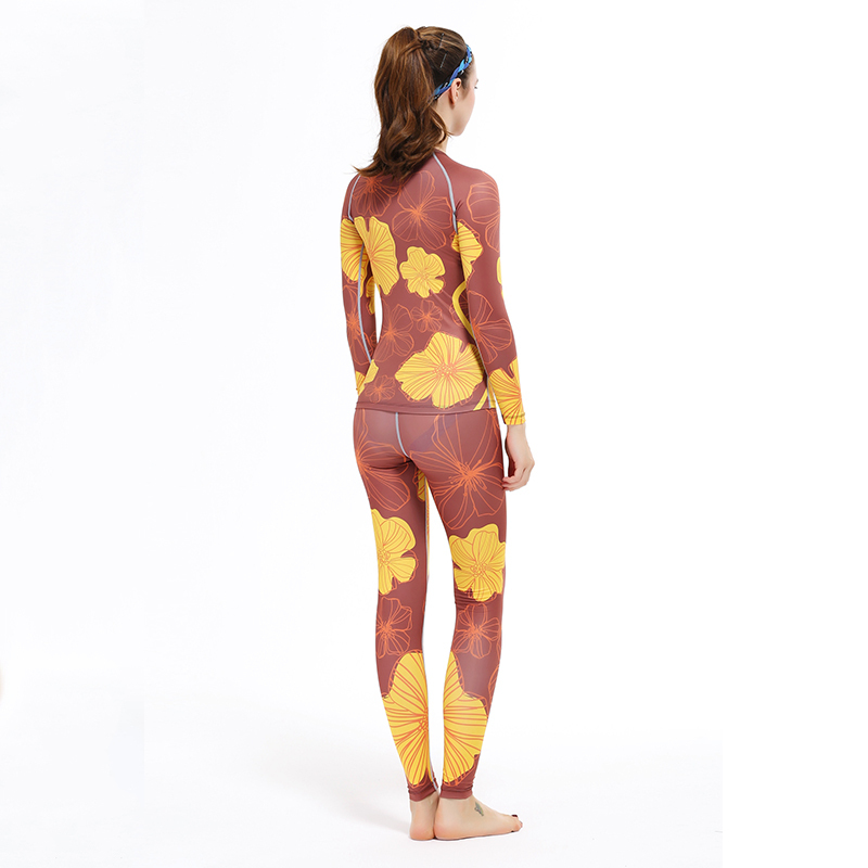 Femmes Yoga & cyclisme fleur imprimer ensembles intérieur Fitness formation Shaper Compression collants sport maillots musculation XS-2XL - 6