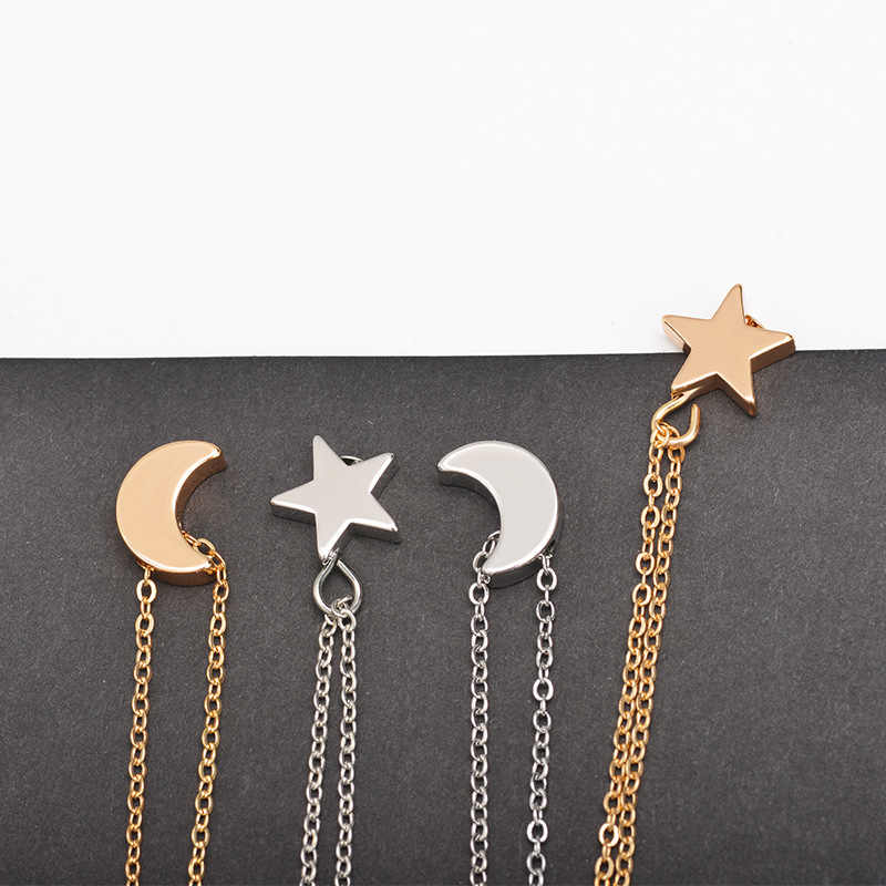 Tenande Simple Style Double Layer Gold Color Star Moon Necklaces & Pendants for Women Ocean Jewelry Femme Bijuter Collier
