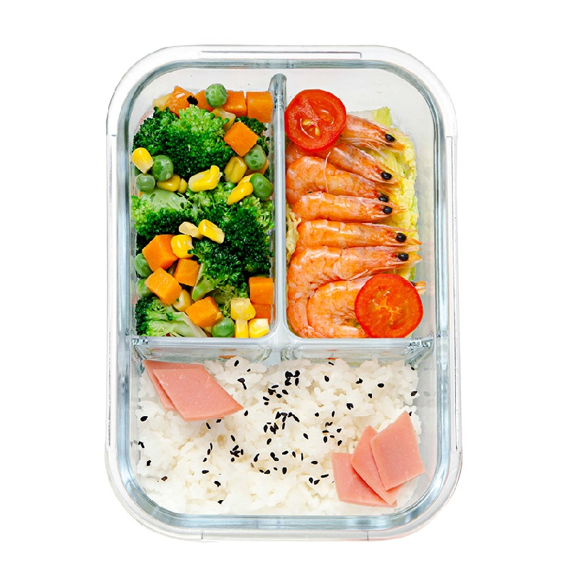 Glass Lunch Box with 3 Compartments Meal Prepping Glass Food Storage Container Snap Locking White Lid