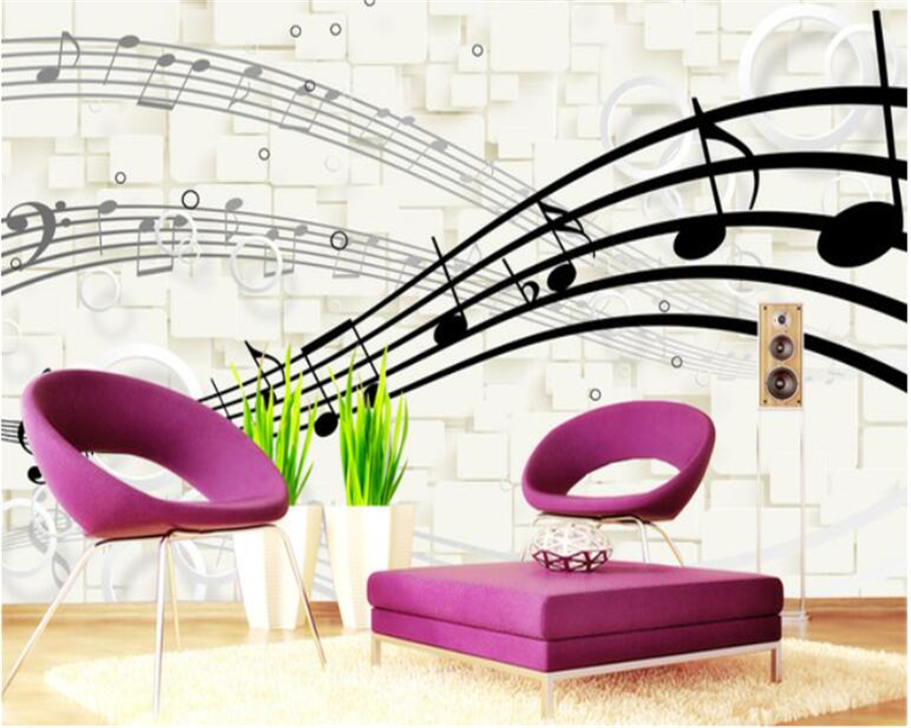 Beibehang Wall Papers Home Decor Classic Stylish 3d Musical Note