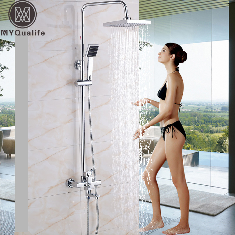 Wall Mounted Chrome Shower Faucet Set Single Handle 3 Functions 8 Rainfall Showerhead Bath and Shower Mixers with Handshower brass chrome single handle 3 ways mixer shower faucet wall mounted 8 rainfall bathtub shower complete set handshower