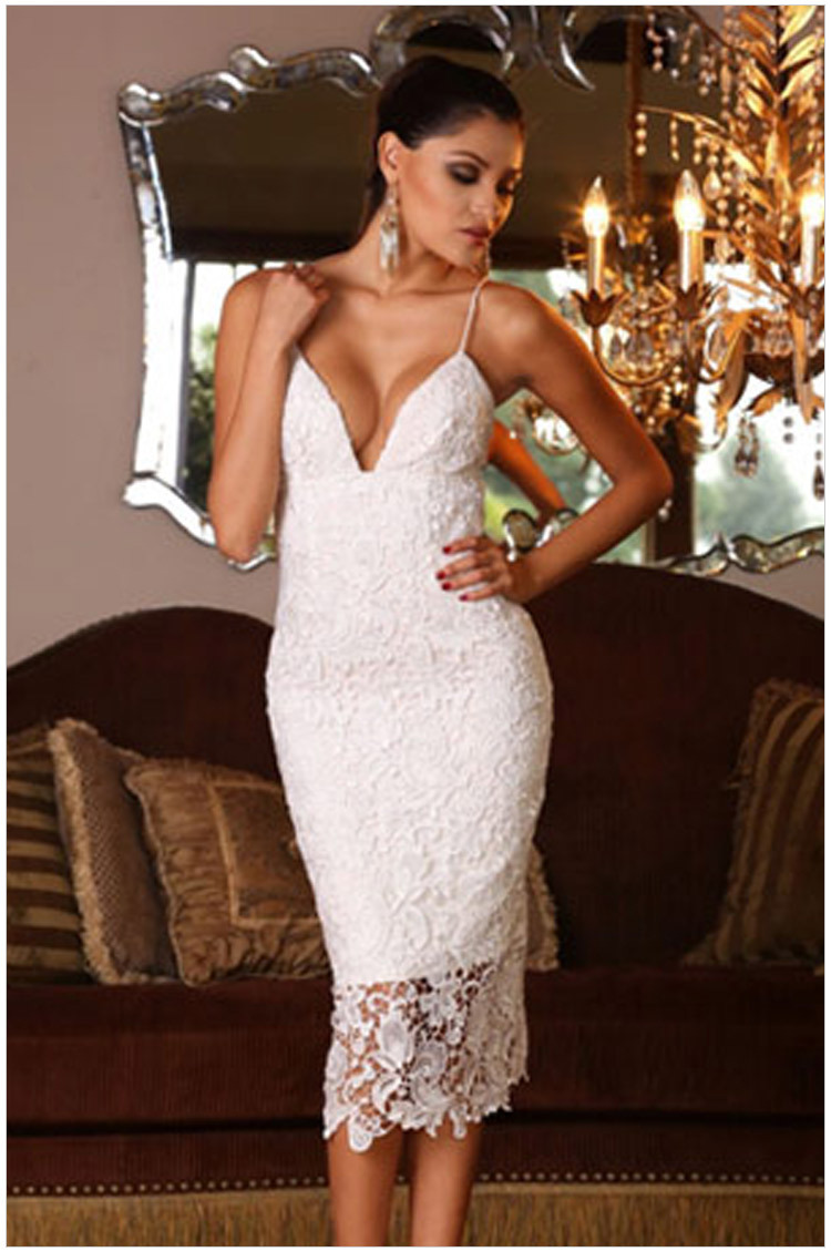 Women's White Lace Dress Deep V Neck Sleeveless Backless Strap Casual - dany chen's store