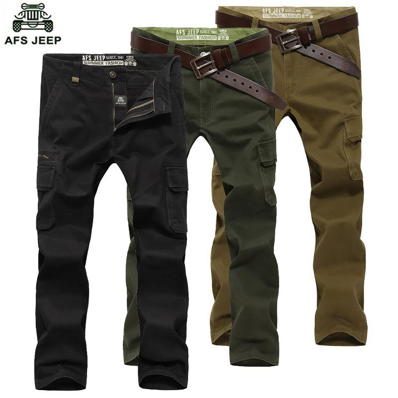 2016 Mens\' Spring Autumn Cotton Cargo Long Pants Pocket Brand AFS JEEP Casual Straight Plus Size Trousers Breathable Pants Khaki (31)