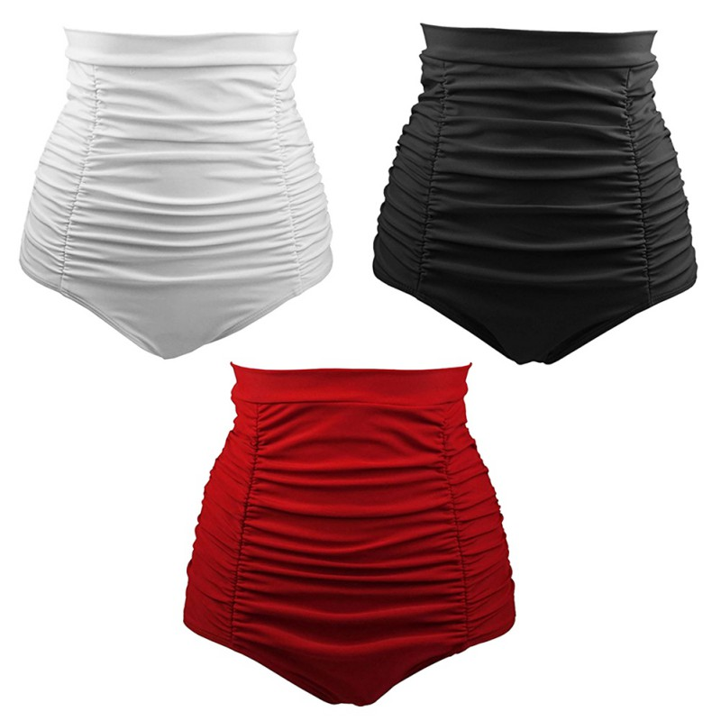 Women Bottom Shorts Ladies Solid Pleated Ruched Brazilian Bathing Shorts Plus Size