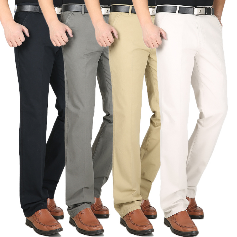 Mens Loose Business Casual Pants Plus Size 30-44 Straight Pants Male Cotton High Quality Cotton Leisure Trousers Summer Spring