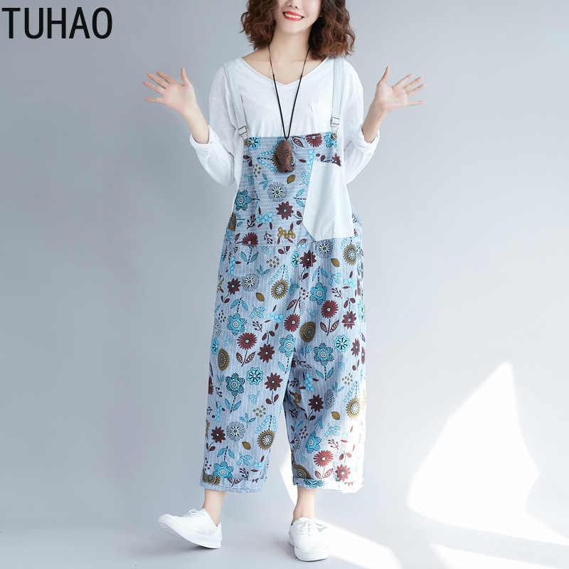 TUHAO 2019 летние женские шаровары без рукавов с ремешками Romperplus размер комбинезон джинсовый комбинезон нагрудник с принтом штаны LLJ