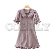 CUERLY women sweet plaid ruffled mini dress A line turn down collar casual cute stylish female chic dresses vestidos