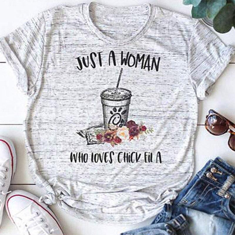 Novas Mulheres T-Shirt Apenas UMA Mulher Que Ama a Garota Fil UM T-Shirt coca e floral impressão Cinza Claro O-pescoço t camisa Das Senhoras Tops Tee