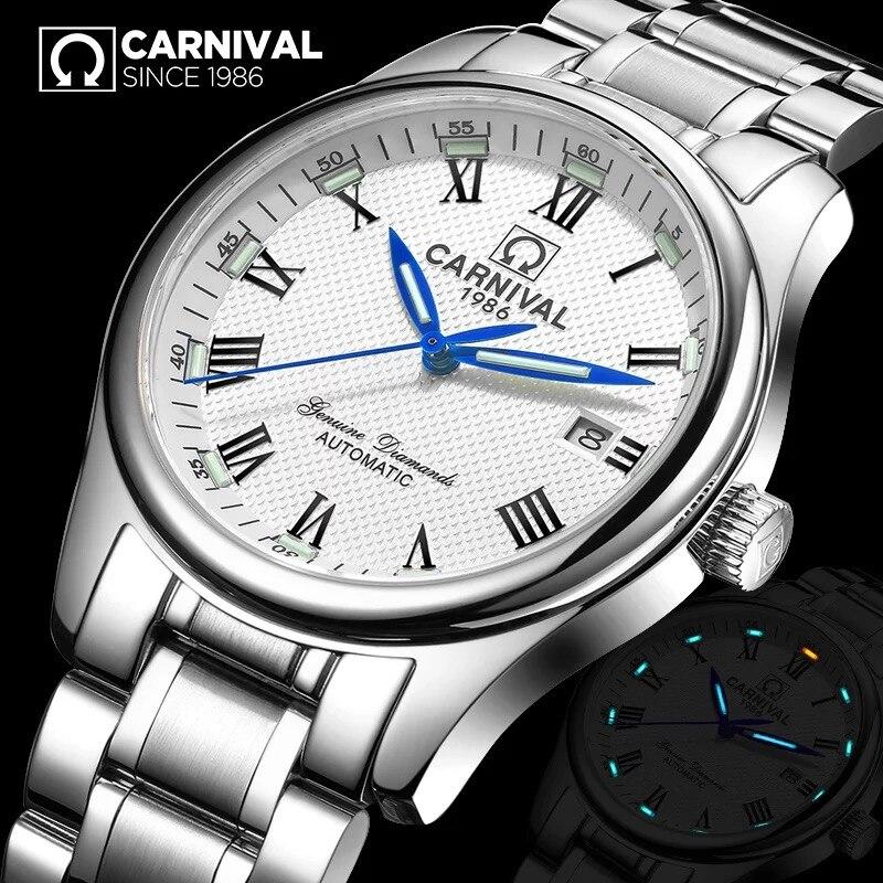 Fashion Mechanics self winding Watches Luxury brand CARNIVAL Tritium Watch Automatic Calendar Luminous Waterproof Skeleton watch