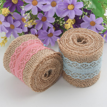 Burlap And Lace Ribbon Wide Lace Satin Linen Ribbon Fabric By the Roll For Bag Material Party Gift Crafts Flowers Decorative цены