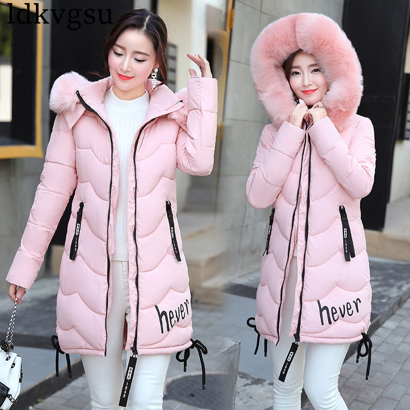 New 2018 Autumn Winter Cotton Coat Women Slim Outwear Medium-long Padded Jackets Thick Fur Hooded Wadded Warm   Parkas   Winter A908