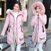 New 2018 Autumn Winter Cotton Coat Women Slim Outwear Medium long Padded Jackets Thick Fur Hooded Wadded Warm Parkas Winter A908