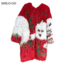 SHILO GO Fur Coat Womens Winter Fashion O Neck Real fox fur long coat red splicing white leaves fur Knitting coat