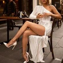 Robe de soirée Blanche pour femmes, asymétrique épaule dénudée, manches longues, Maxi, en tricot, tenue de soirée