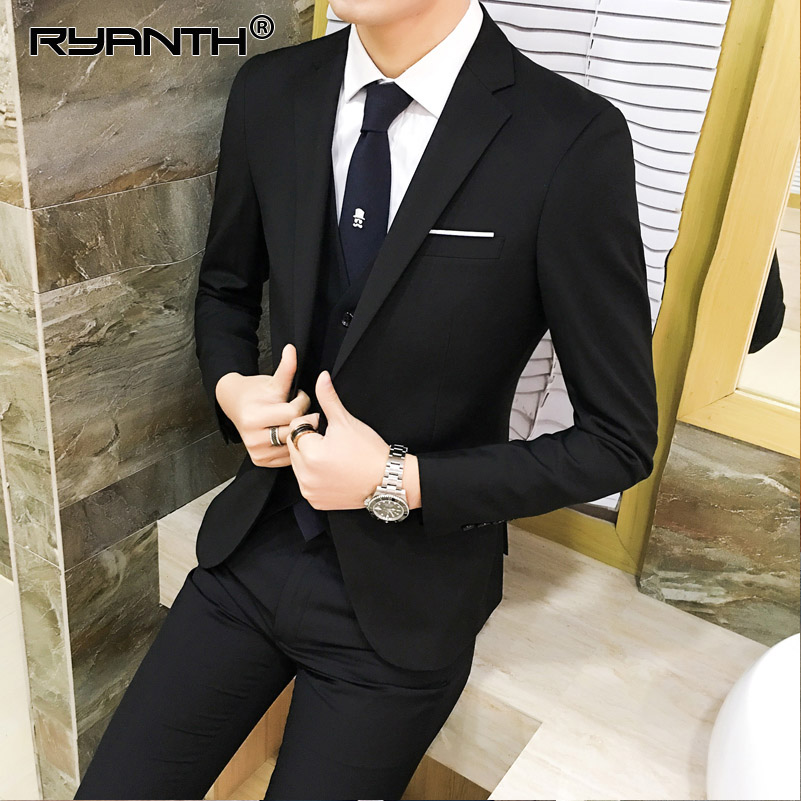 Ryanth Mens Black Suit Slim Fit Jacket Pants Formal Dress Men Suit Set Men Wedding Suit Groom Tuxedos (jacket+pants+vest) ...