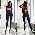 2016 New Summer Sexy Fitness Jumpsuits Pink Black Backless Skinny Bodysuit Patchwork Hollow out Sport Rompers Women Jumpsuit