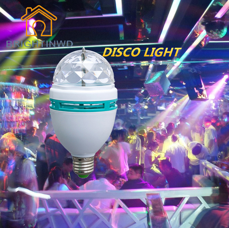 Ampoule LED RGB Crystal Stage Rotating Bulb Lamp E27 3W 220V Lampada LED Bombillas LED Light Bulb Disco Night Light BRIGHTINWD e27 rgb led lamp 3w magic lampada led bulb ac 85 265v auto rotating stage light projector for dj disco club party pub dance