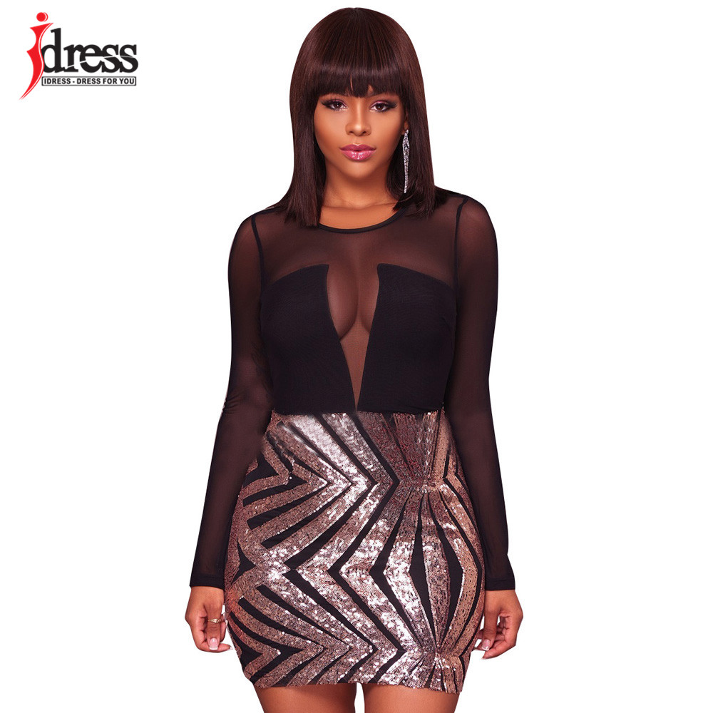 IDress M L Silver Gold Mesh Sequin Patchwork Bodycon Dress 2018 New Fashion  Women Sheer Long Sleeve Sexy Club Party Mini Dress 82a8a66140ef