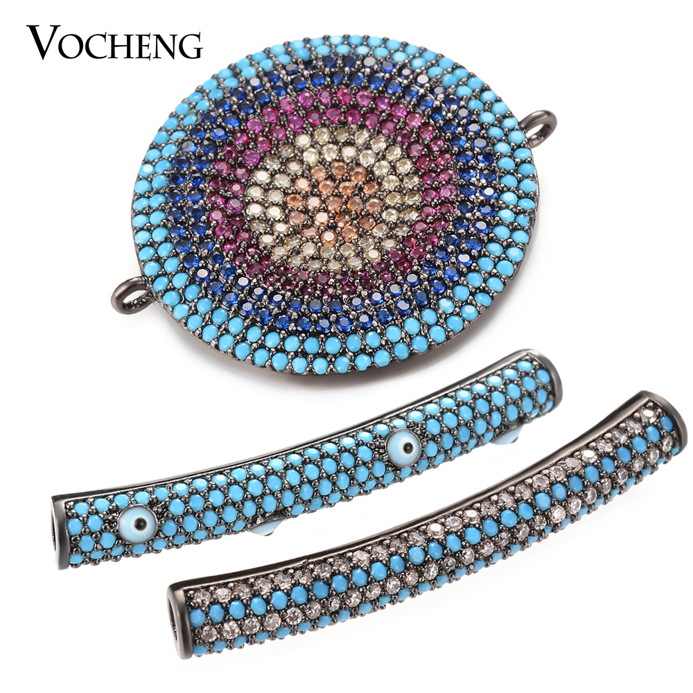 10PCS LOT Top Quality Long Tube Connectors micro pave CZ Crystal For Men s Bracelet Jewelry