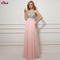 TaoHill платье подружки невесты розовое ТРАПЕЦИЕВИДНОЕ шифоновое длинное платье с круглым вырезом и кристаллами для подружки невесты