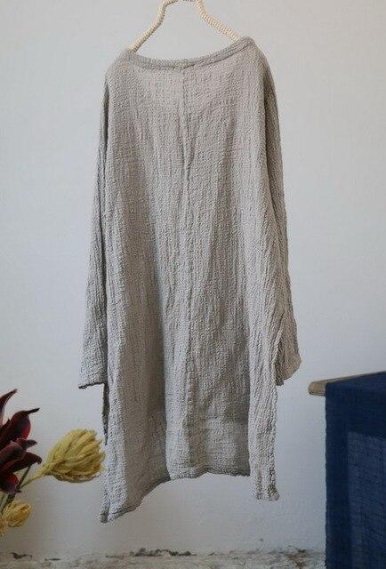 Ladies Tops Cotton Linen 2018 New Original V neck Spring Autumn Sunscreen Shirt Thin Brief Long Sleeve Linen Women White Shirt