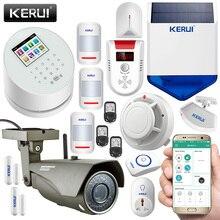 Kerui w2 gsm pstn беспроводной домашней безопасности системы smart сигнализация + 720 wi-fi водонепроницаемый внешний ip-камера + солнечная сирена, строб