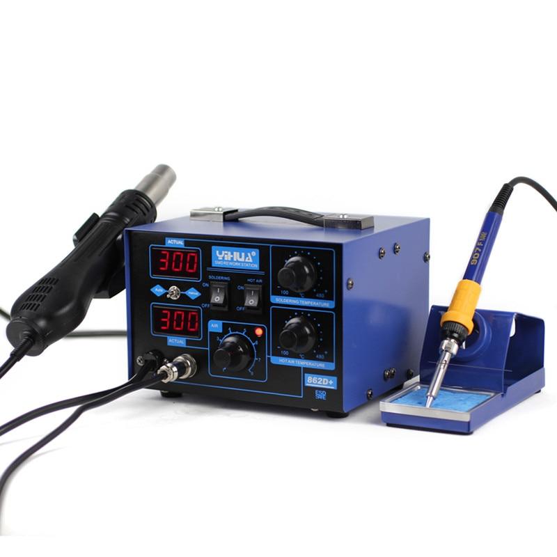2-in-1 YIHUA 862D+ Soldering Iron Hot Air Rework Heat Gun Solder Station For SMT SMD Welding Repair