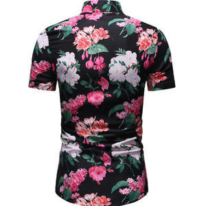 Image 3 - חדש קיץ גברים של אירופאי ואמריקאי סגנון מקרית קצר שרוולים פרחוני חולצה HZ38