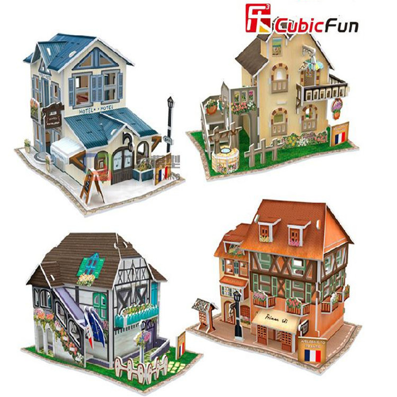цена на Cubic Fun DIY 3D Puzzle Jigsaw Puzzle World Styles Model Kids Toys France Flavor Puzzle 3D Model Birthday Gifts Educational Toy