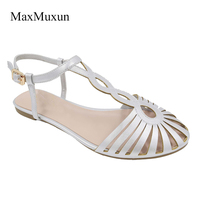 MaxMuxun Ladies Falt Sandals Cut Out Peep Closed Toe Ankle Buckle Strap Casual Gladiator Sandals Women