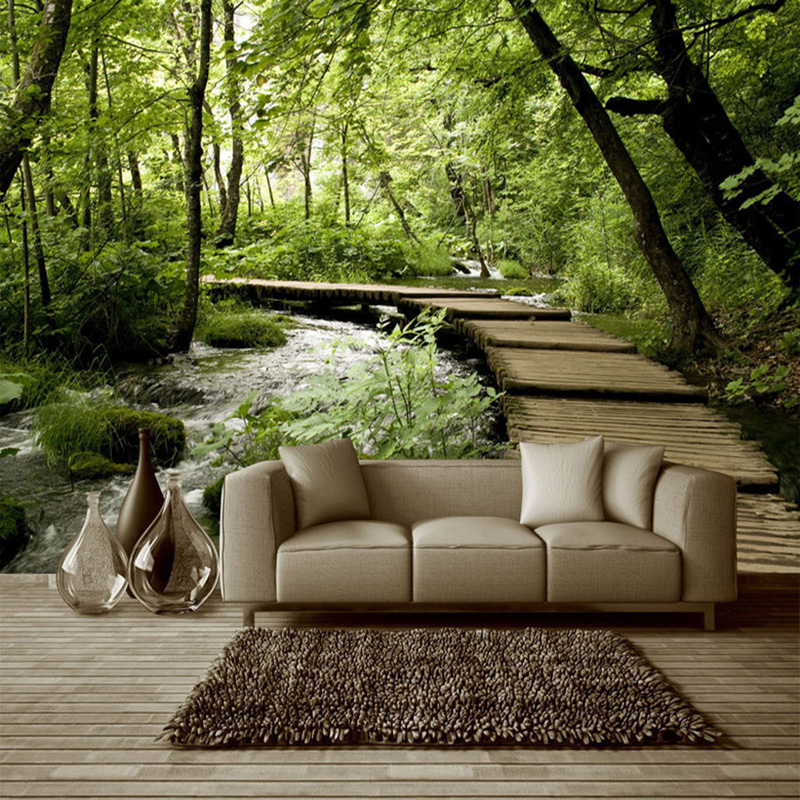 3d non woven wallpaper classic forest wooden bridge stream for Nature room wallpaper