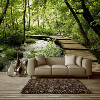 3D Non-Woven Wallpaper Classic Forest Wooden Bridge Stream Nature Mural Living Room Spatial Expansion Green Eye Decor