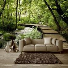 3d нетканые обои классический лес деревянный мост рукоятка гостиная