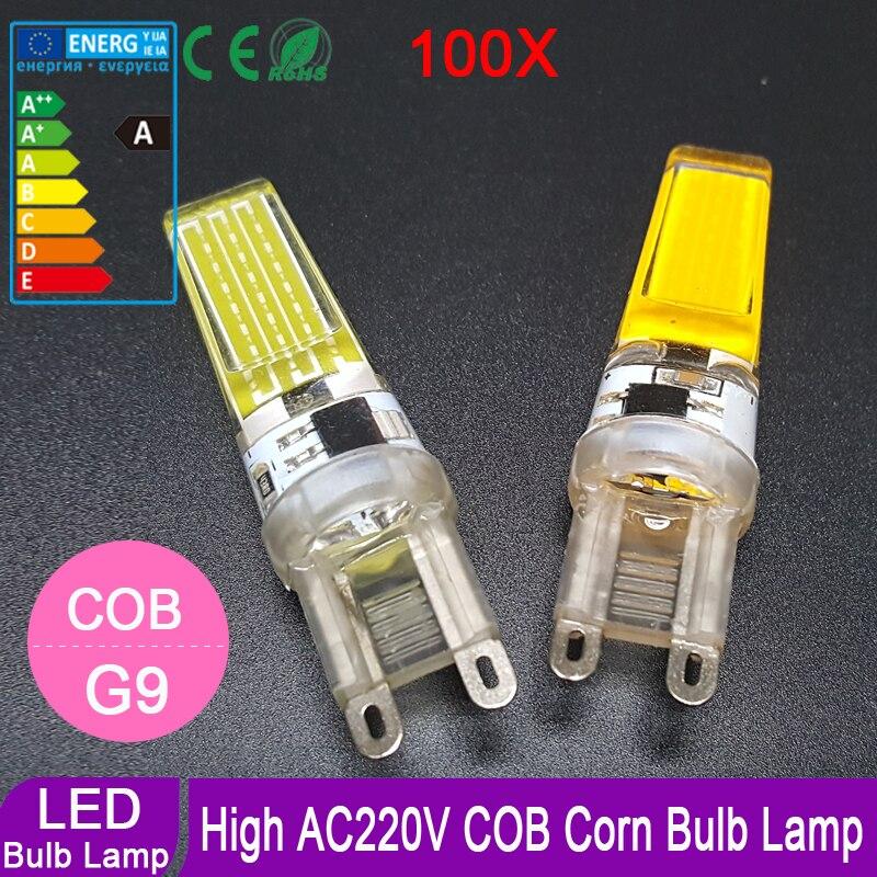 100pcs lot Super Brightness 220V G9 COB Led Bulb Lamp Led Spotlight 360 degree Replace Halogen